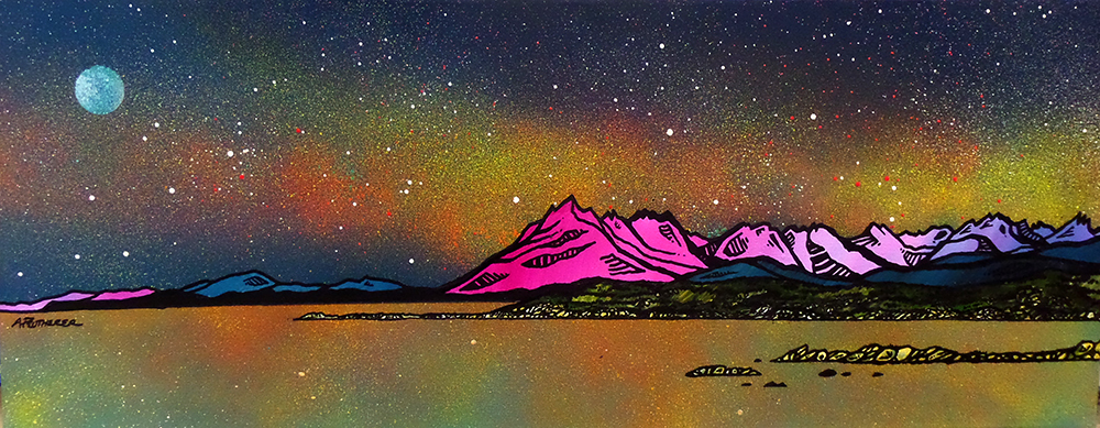Painting & prints of Skye. The Cuillin from Tarskavaig Bay, Scotland