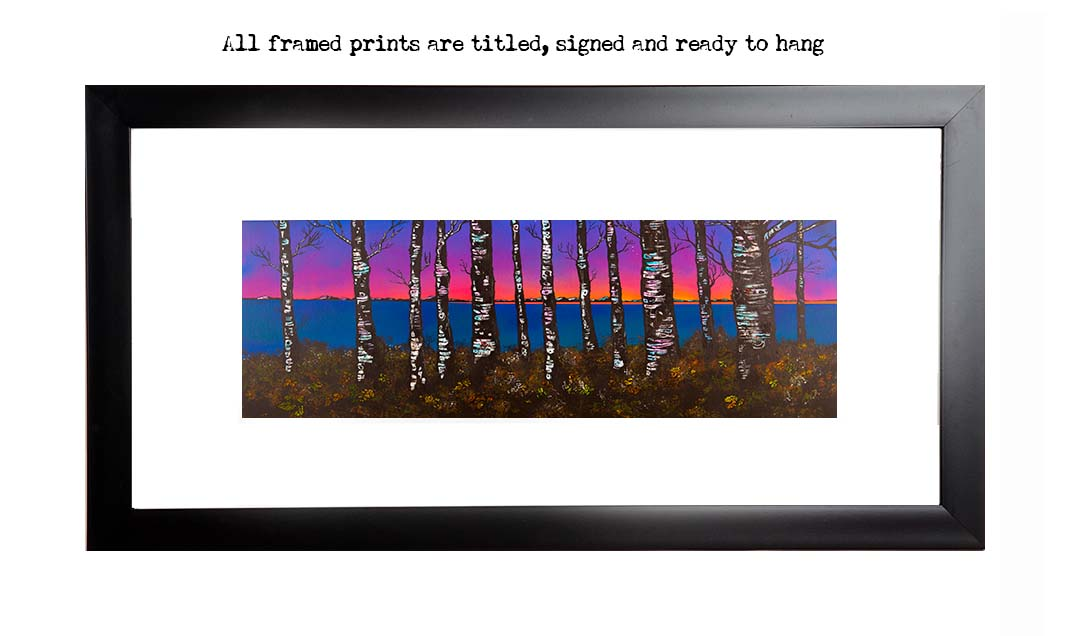 Framed print of Loch lomond woodland sunset, Scotland.