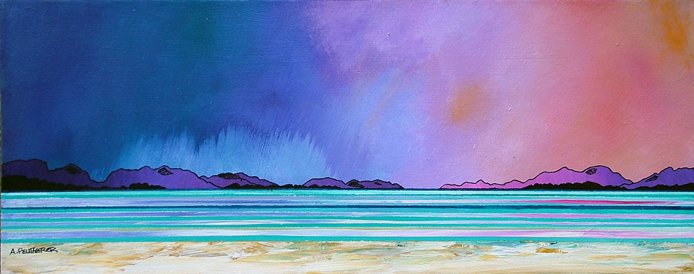 painting & prints of Uig Bay Beach, Isle Of Lewis, Scottish Outer Hebrides.