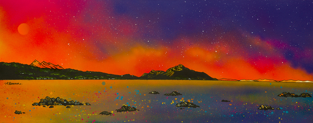 Summer Sunset over The Holy Isle and Goatfell from Whiting Bay, Arran, Ayrshire, Scotland. Painting and prints by Scottish contemporary landscape artist A Peutherer