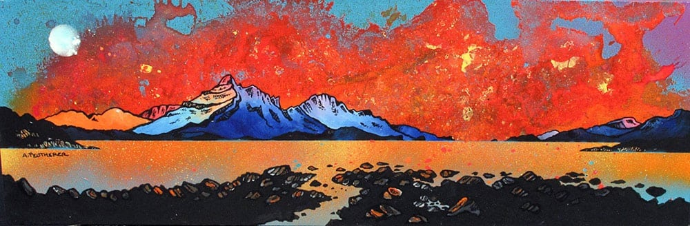 Painting & prints of Skye Sunset & Raasay, Scottish Western Isles.