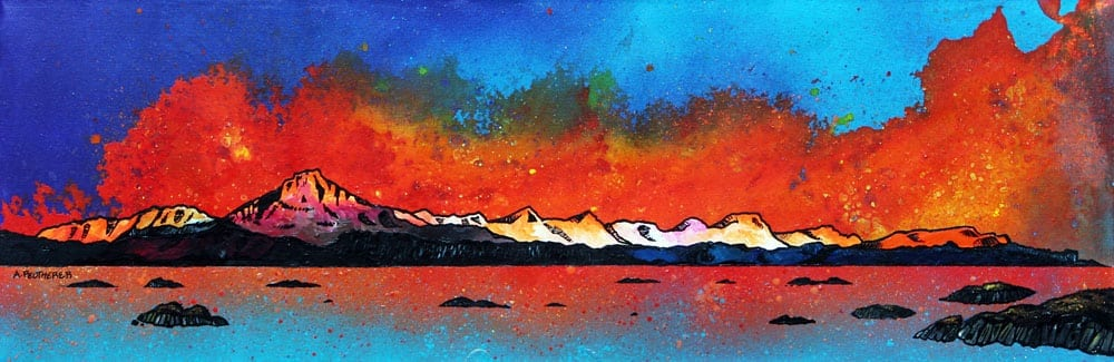Painting & prints of Skye From Arnish Bay Sunset,Hebrides, Scotland.