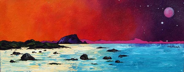 Bass Rock Paintings & Prints – Pink Moon Over The Bass Rock, North Berwick, Scottish East Coast.