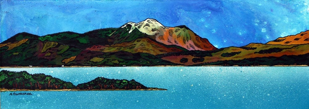 Painting & prints of Ben Nevis Across Loch Linnhe, Fort William, Scottish Highlands.