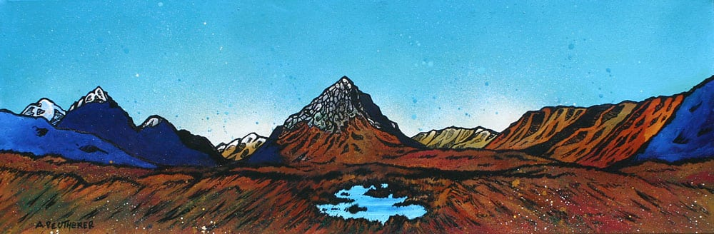 Paintings, prints of The Buachaille, Rannoch Mor, Glencoe and Glen Etive, Scotland.