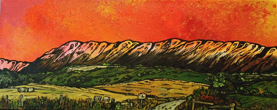 Painting & prints of The Campsie Hills, Scotland from an original Scottish landscape painting by Glasgow artist A Peutherer. Original mixed media painting in acrylic paint, spray paint, oil paint and acrylic ink on box canvas.