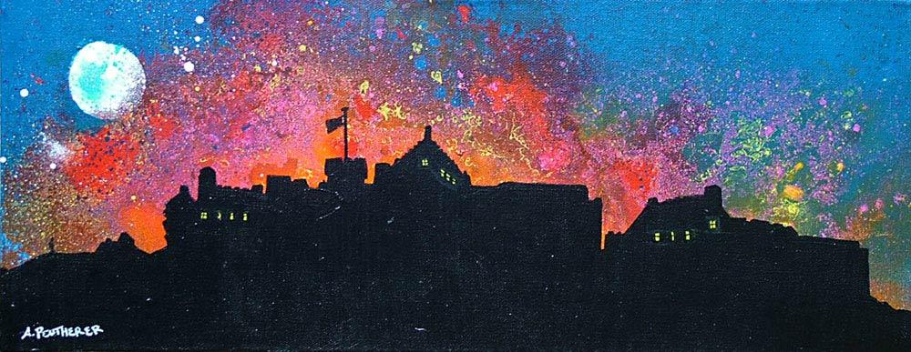 Scottish painting & prints of Edinburgh Castle Fireworks, Scotland