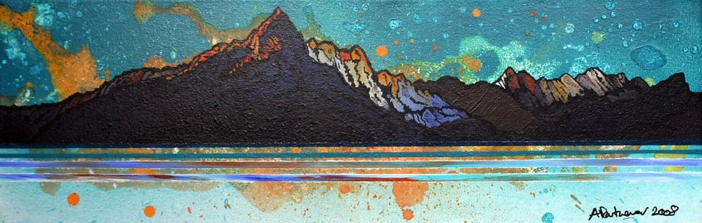 Painting & prints of Skye winter Sunset, Cuillin mountains, Loch Scavaig, Isle Of Skye, Inner Hebrides, Scotland.