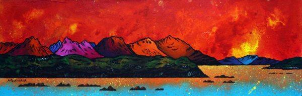 Paintings & Prints of Skye – Cuillin Red Sunrise, Isle of Skye, Hebrides, Scotland.