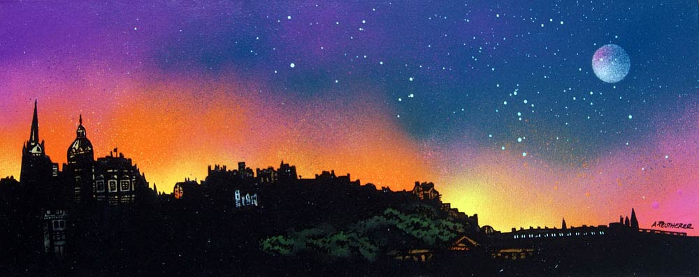 Scottish painting & prints of Edinburgh Skyline Dusk, Scotland