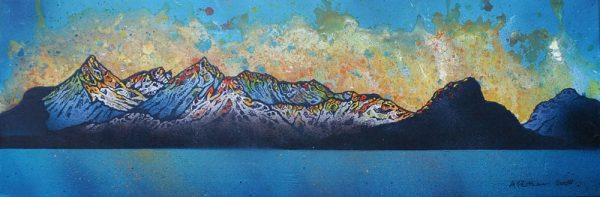 Paintings & Prints of Skye – Black Cuillin 2, Winter Sunset, Loch Scavaig, Isle Of Skye, Inner Hebrides, Scotland.