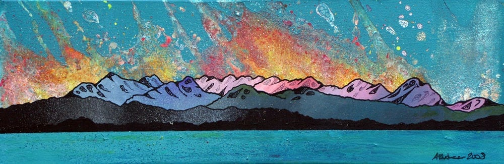 Painting & prints of Cuillin Sun Set, Cuillin mountains, Isle Of Skye, Scotland.