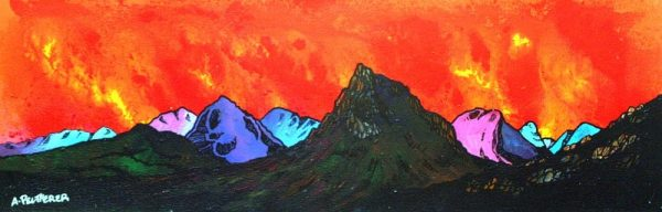 Glencoe Paintings & Prints – Buachaille Red Sunset, Rannoch Mor, Glencoe and Glen Etive, Scotland.