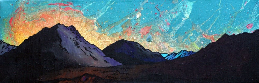 Paintings & prints of Glen Etive Sunset, Scottish Highlands