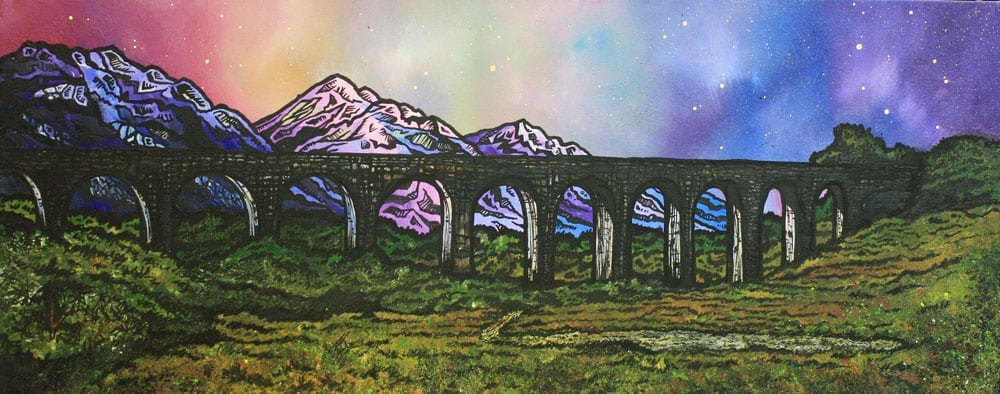 Scottish painting & prints of Glenfinnan Viaduct, Glenfinnan, Lochaber, Scottish Highlands.