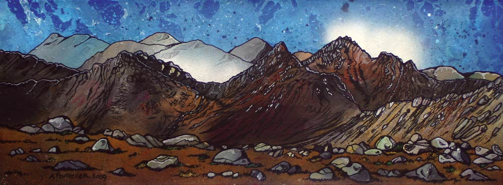Scottish painting, prints of GoatFell, Isle Of Arran , Ayrshire, Scotland.