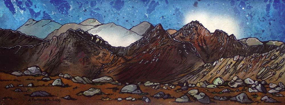 Scottish painting, prints of GoatFell, Isle Of Arran , Ayrshire, Scotland.