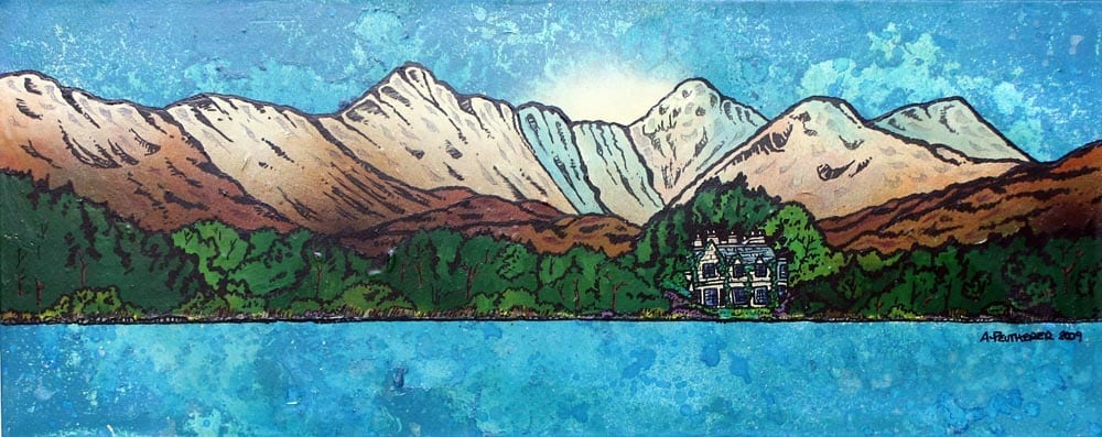 Scottish painting & prints of The Ardanaiseig Hotel from loch Awe, Scottish Highlands.