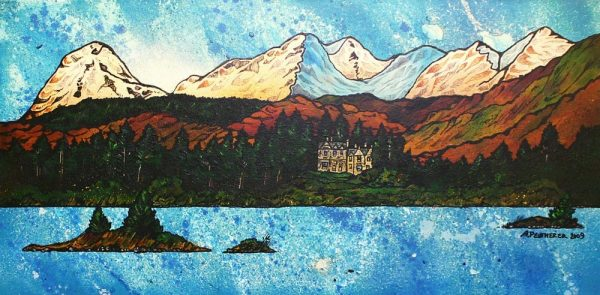 Scottish Highlands Paintings & Prints – Loch Awe and The Ardanaiseig Hotel, Scottish Highlands.