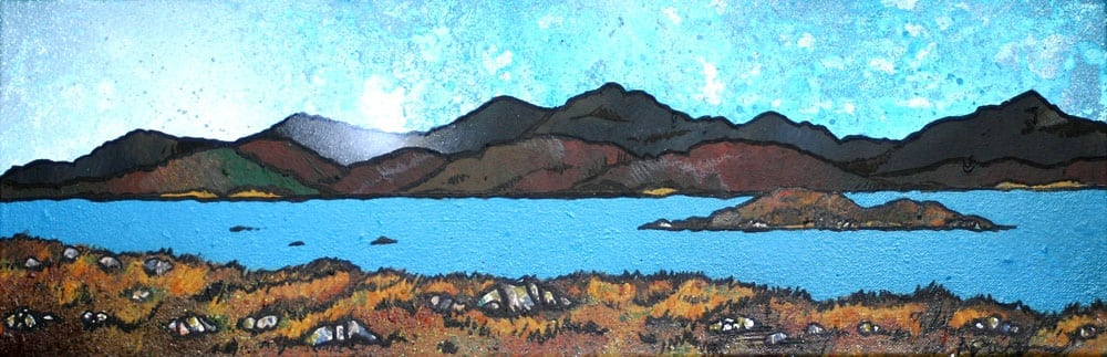 Painting & prints of East Bee Loch, South Uist, Scottish Western Isles, Hebrides.