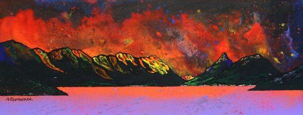 Glencoe Paintings & Prints – Pap of Glencoe Winter Sunset over Loch Leven, Argyll, Scotland.
