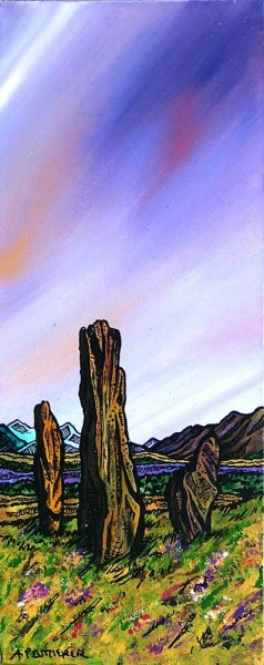 Painting & prints of The Machrie Moor Standing Stones, Isle of Arran, Ayrshire, Scotland.