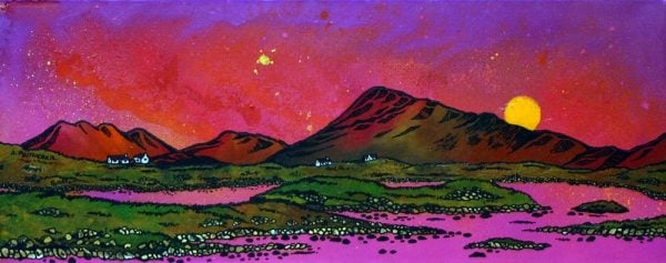 Paintings & Prints of Uist – North Uist Pink Sunset Over Eaval (Eabhal), Scottish Western Isles.