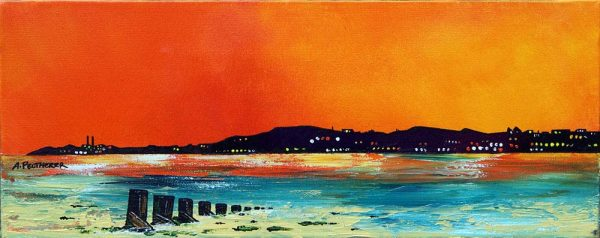 Edinburgh Paintings & Prints – Evening Light Over Portobello Beach, Edinburgh, Scotland.