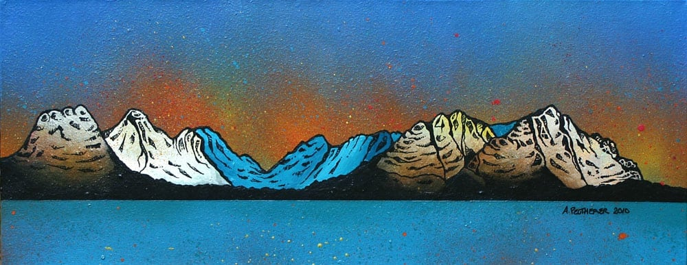 Scottish painting & prints of The Three Sisters Of Kintail from Loch Duich, Scottish North West Highlands.